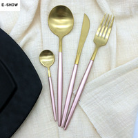 Cute Rose Gold Dinnerware Set Stainless Steel Plating Knife Fork Tableware Cutlery Chic Elegant European Western