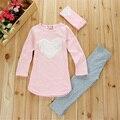 Nueva Otoño Ropa de Las Muchachas 3 unids Camisas Pantalones de Los Niños Que Arropan el sistema Lindo Del Corazón Del Pelo Embroma la Ropa Traje Trajes Para Baby Girl