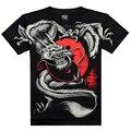 Camiseta de hombre 3D verano estilo 3D T shirt 100% algodón casual camiseta de hombre ropa patrón de dragón de fuego 2015 Hot hip hop hombres de la