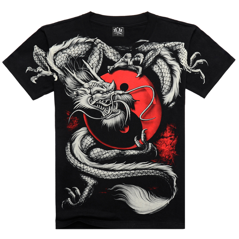 T shirt men 3D Summer style 3D T shirt 100% Cotton casual Tshirt Men clothes Pattern Fiery dragon 2015 Hot hip hop t shirt men