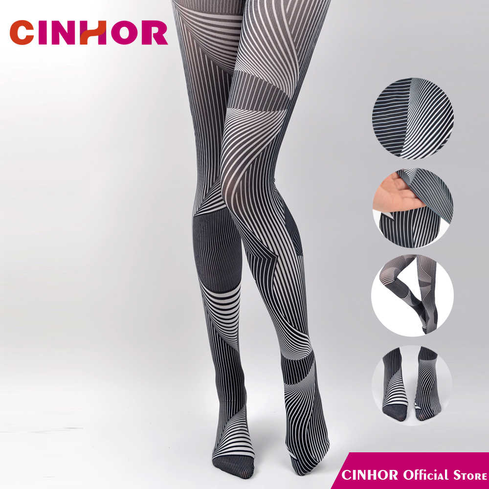 5c36aa228ee CINHOR Black and White Striped Gradient Stockings Stripe Spring Retro  Bottoming Print Tide Women Thin Cotton