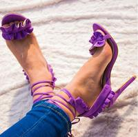 Luxury Purple Suede Ruffles Ladies Sandals Cut out Peep Toe Lace up Gladiator Sandals Women High Heel Banquet Shoes