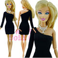 Fashion Basic Classic Little Black Dress Wedding Ball Party Clothes + Necklace For Barbie Doll Silkstone Model Toys Collection