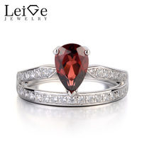 Leige Jewelry Natural Garnet Ring Sterling Silver 925 Fine Jewelry Tear Drop Wedding Engagement Rings for Women Red Gemstone