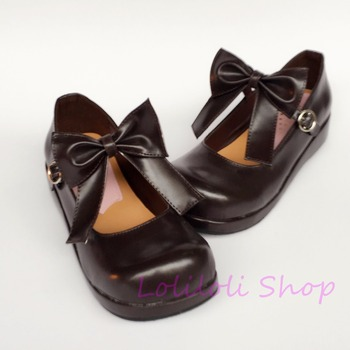 Princess sweet lolita shoes loliloli yoyo Japanese design custom big size brown bright skin buckle strap flat short boots an1257