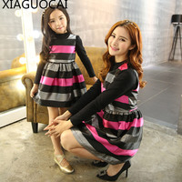 Dream Xia 2017 Family Matching Clothes Mother Daughter Dresses Stripe Autumn New Lovely Dress Parent Child