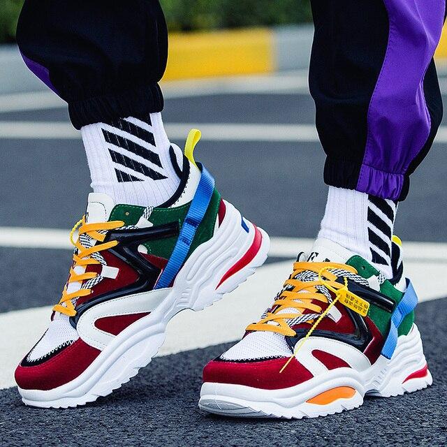 LUONTNOR Camouflage Quatro Estações Homens Running Shoes Altura Crescente Esporte As Sapatilhas Das Mulheres Respirável Zapatillas Hombre Deportiva
