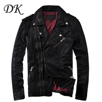 Europe United States locomotive Lapel short oblique zipper slim sheep skin leather coat jacket men