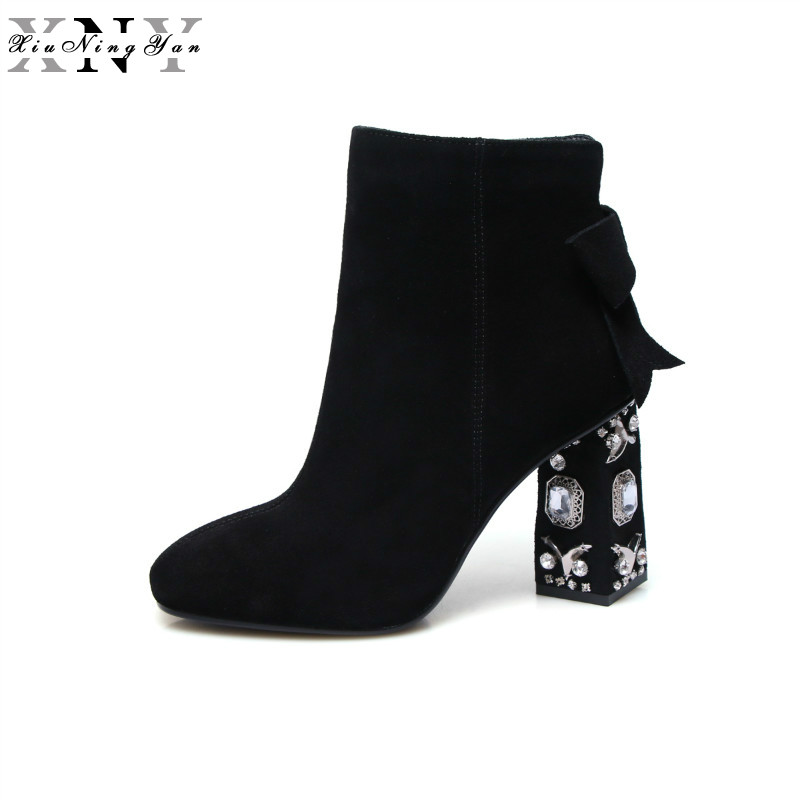 XiuNingYan Fashion Winter Shoes Cow Suede Square Toe Bowtie Thick Diamond High Heel Solid Women Ankle Boots Pearl Chelsea Boots krazing pot cow suede diamond bling winter shoes solid zipper square thick high heels plus size fashion fashion ankle boots l12