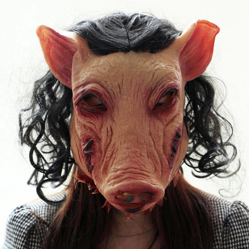 Adult Halloween Smoke Pig Cosplay Creepy Animal Prop Latex Party Unisex Scary Pig Head Mask Animal Joker Costume