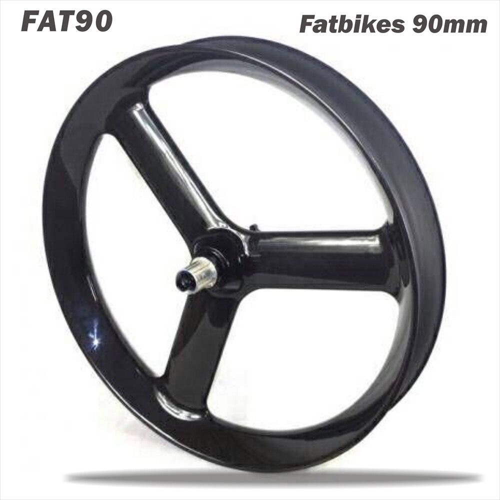 Nouveau 26er Tri parlé Graisse/Neige vélo Roues de Carbone 3 parlé fatbike roues 90mm largeur tubeless graisse roues UD mat ou 3 k mat 2 pcs