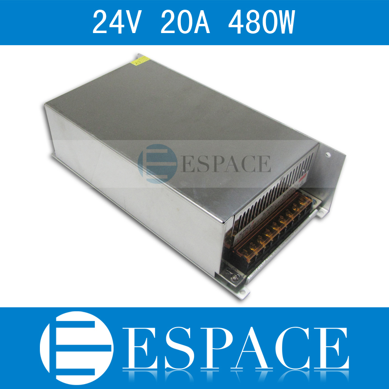 Best quality 24V 20A 480W Switching Power Supply Driver for LED Strip AC 100-240V Input to DC 24V free shipping free shipping single led power supply driver ac 100 240v to dc 24v 50w voltage converter