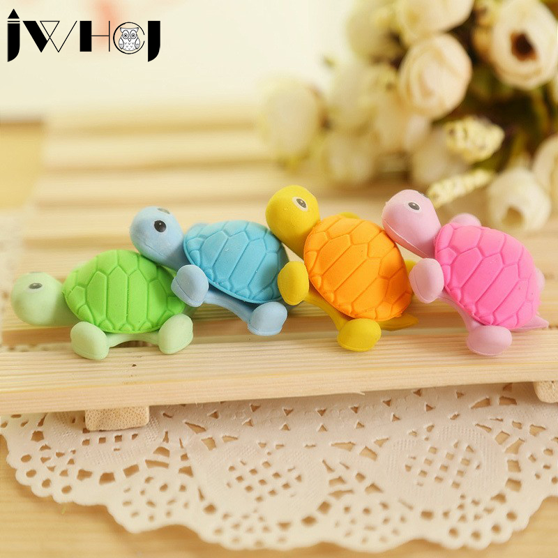 Novelty 1 Large + 1 Small Size Cartoon Tortoise Rubber Eraser Kawaii Creative Stationery School Supplies Papelaria Gift For Kids