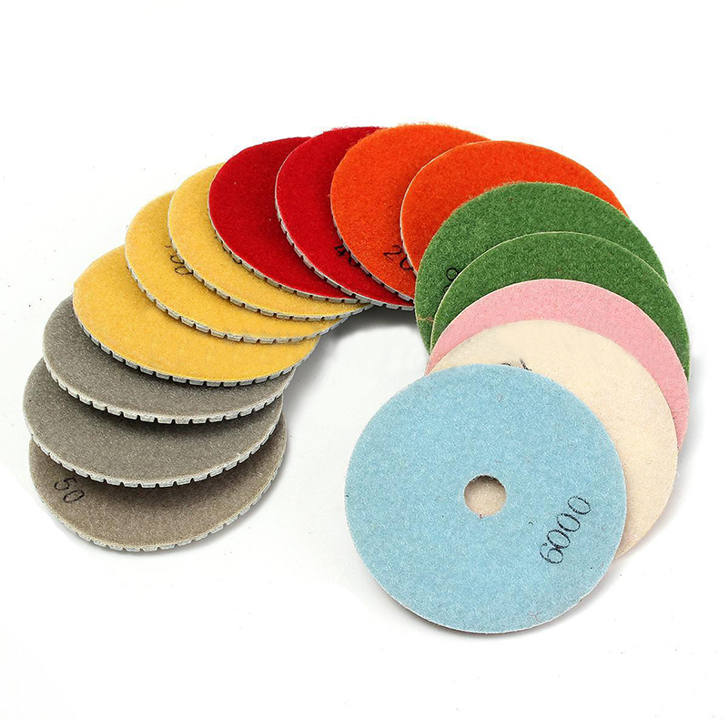 16pcs Diamond Polishing Pads 4inch/100mm Wet/Dry Polishing Pad Set with Backer For Stone Concrete Marble  цены