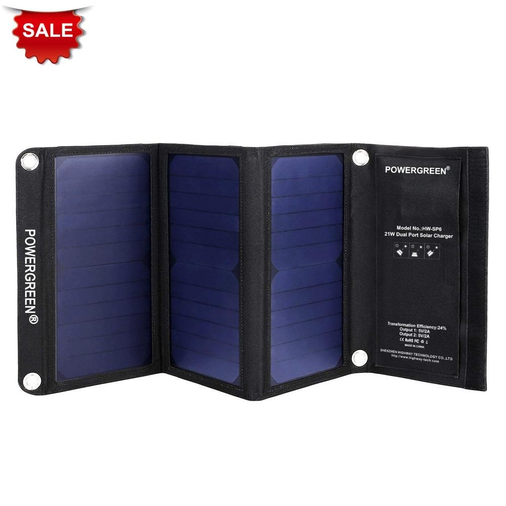 PowerGreen Cargador solar plegable 21 vatios Dual USB Salida Panel - Accesorios y repuestos para celulares