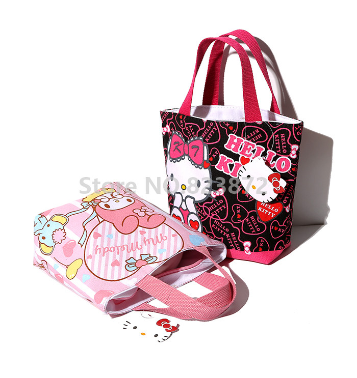 9e3dd079f8 Cute Hello Kitty My Melody Small Tote Lunch Bag for Kids Girls Kawaii Mini  Cartoon Lunch Box Bags Zipper Picnic Food Bag Handbag-in Lunch Bags from  Luggage ...