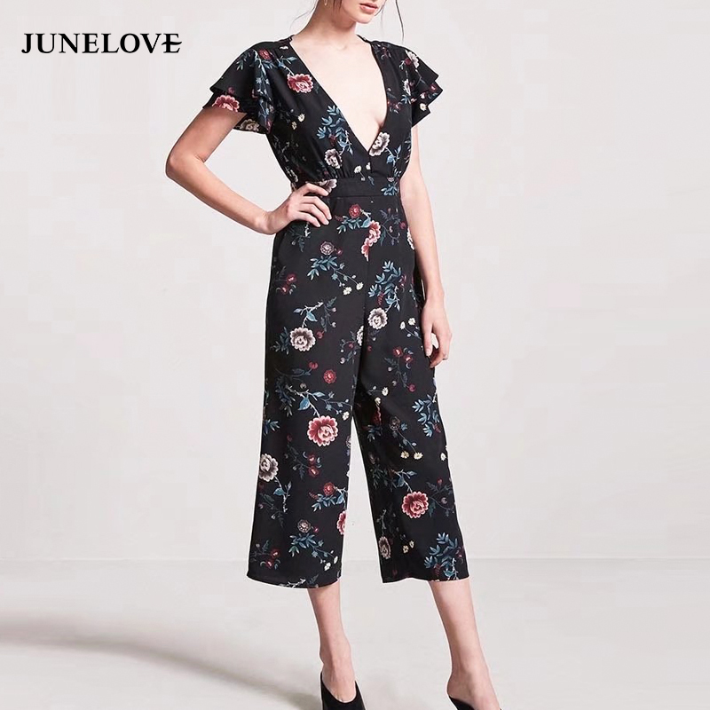 JuneLove 2018 spring women loose print jumpsuits V Neck ruffles women floral rompers chiffon ladies calf length rompers