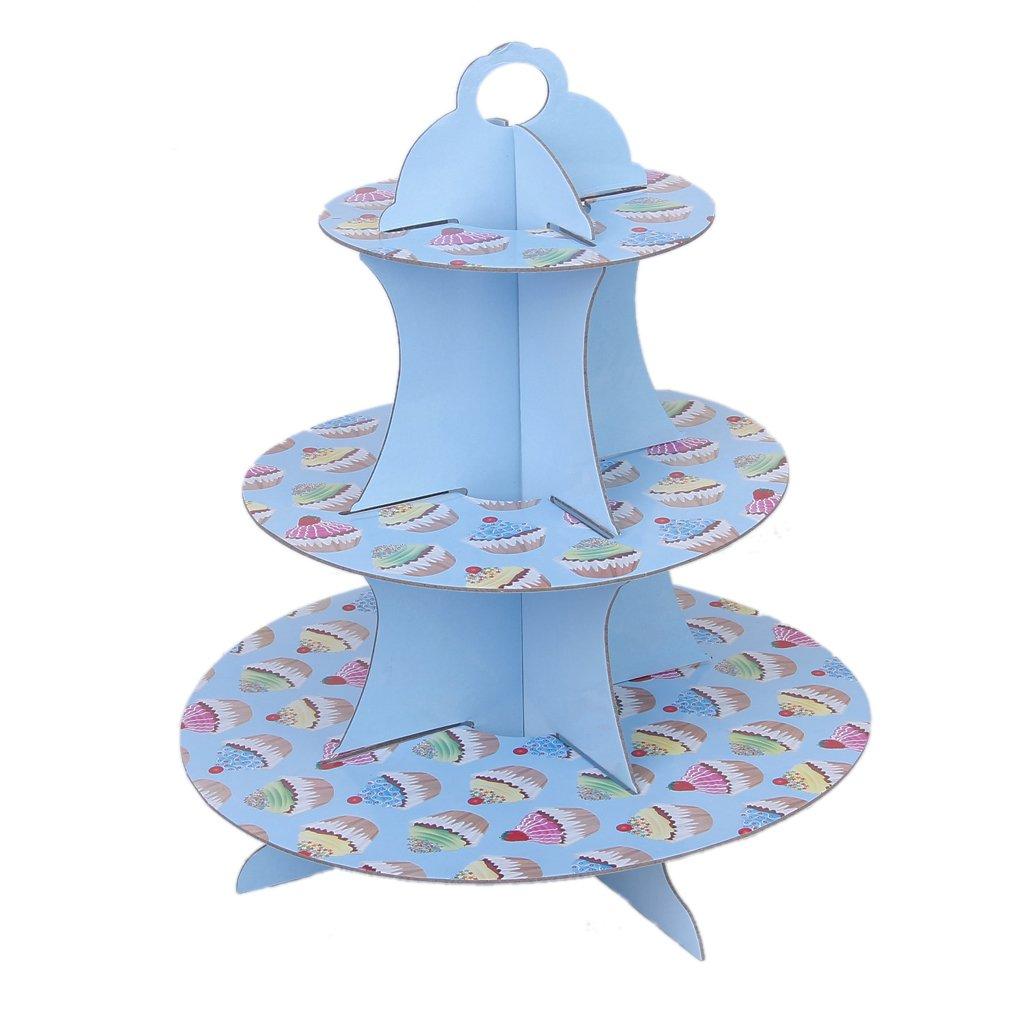 3 couches support de gateau muffin porte papier fete d 39 anniversaire mariage decor bleu avec. Black Bedroom Furniture Sets. Home Design Ideas