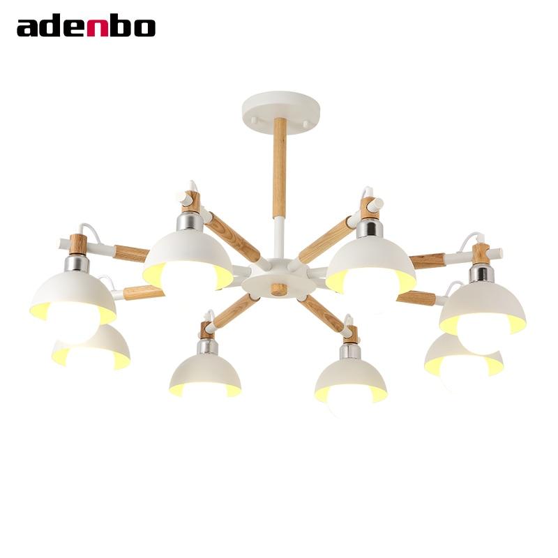 Здесь продается  Creative 3/6/8 Lights LED Chandeliers Solid Wood Chandelier Lighting White Black Living Room Ceiling Hanging Lamp OL17002  Свет и освещение