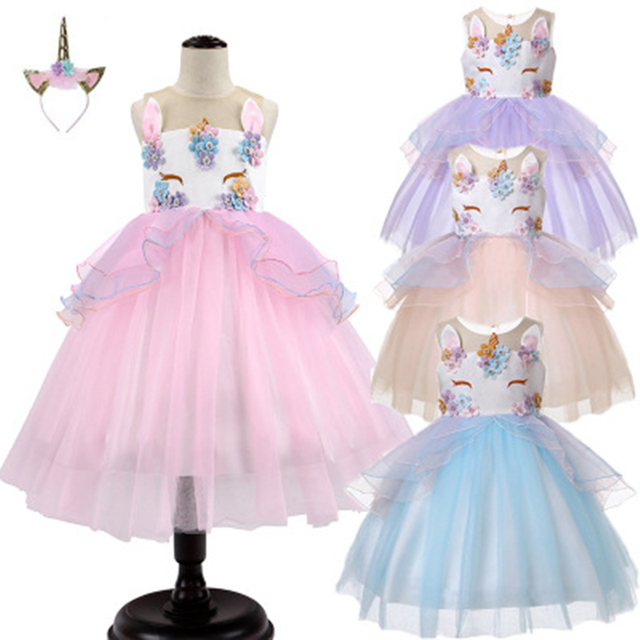 12726581639da US $10.71 | Girls Unicorn Tutu Dress Pastel Rainbow Princess Flower Girl  Party Dresses Children Kids Birthday Halloween Unicorn Costume -in Dresses  ...