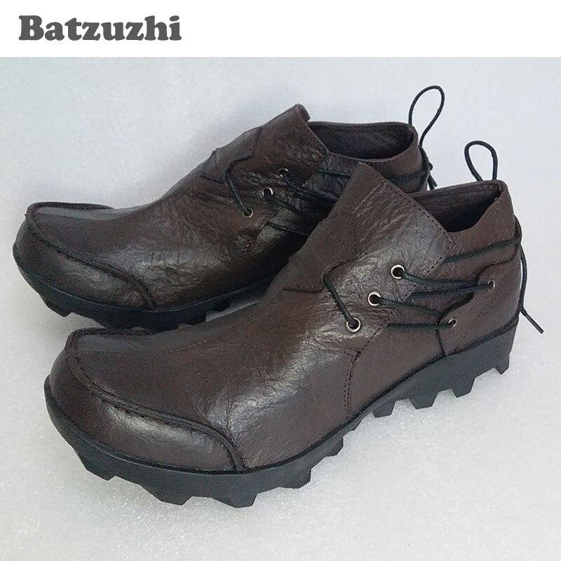 Cuero Hombre top Batzuzhi Eu38 Bajo Zapatos De Hombre Personalidad Primera Marrón Masculina Vaca Capa Botas 2017 Auténtico Casual Piel 44 PWqwrqz5Bn