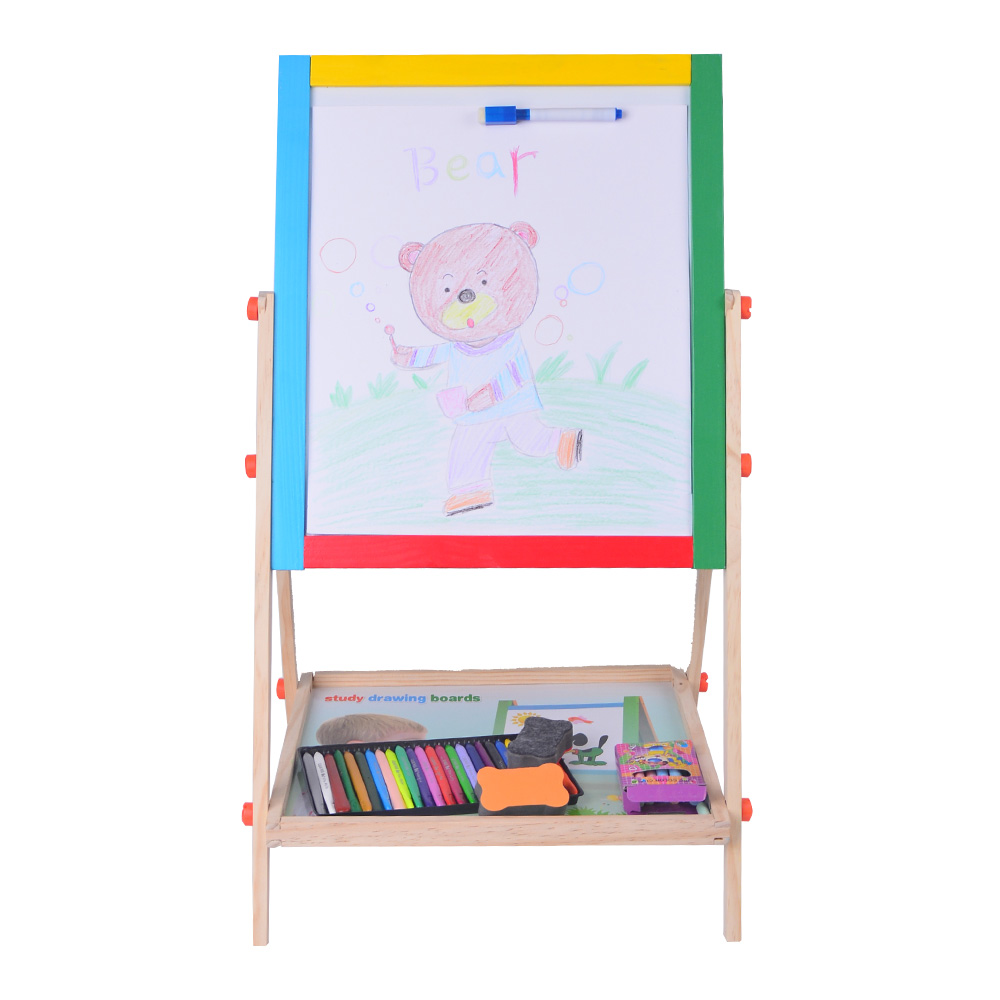 Wooden Kids Drawing Magnetic Board Easel Toys Double Side