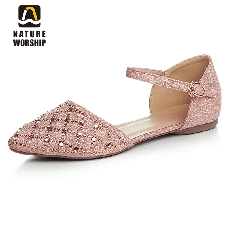 Mary janes womens shoes fashion crystal women sandals pointed toe crystal flat heel sandals rhinestone women shoes ballet flats 2017 womens spring shoes casual flock pointed toe narrow band string bead ballet flats flat shoes cover heel women flats shoes
