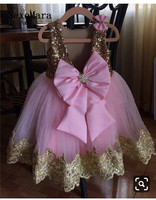 New Gold Sequins Pink Tulle Little Girls Birthday Party Dress with big Bow Princess Pageant Dress Kids Clothes for Ceremony
