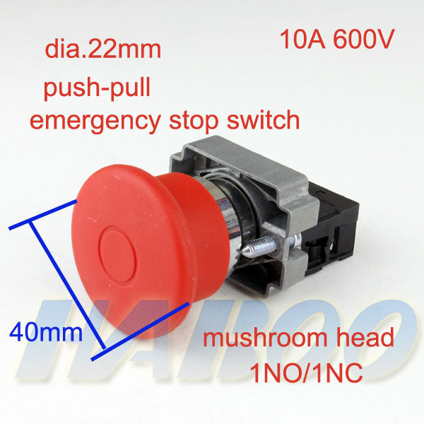 1pcs HABOO sale push-pull push button switch diameter 22mm emergency stop switch 10A 600V shipping free