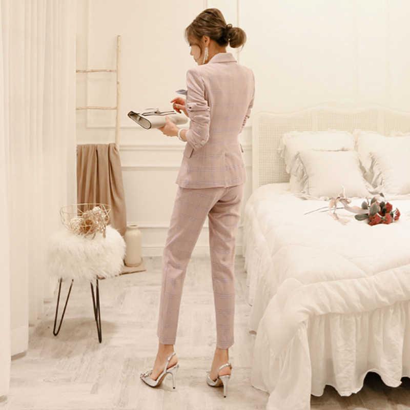 BGTEEVER работа плед нерегулярные женские костюмы однобортный тонкий брючный костюм Блейзер Куртка и узкие брюки офисные женские комплект из 2 предметов