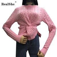 RealShe Kadınlar Sıcak Örme Kazak Ve Kazaklar Kış Femme Büküm Örgü Uzun kollu Casual Triko Kadın Jumper Tops