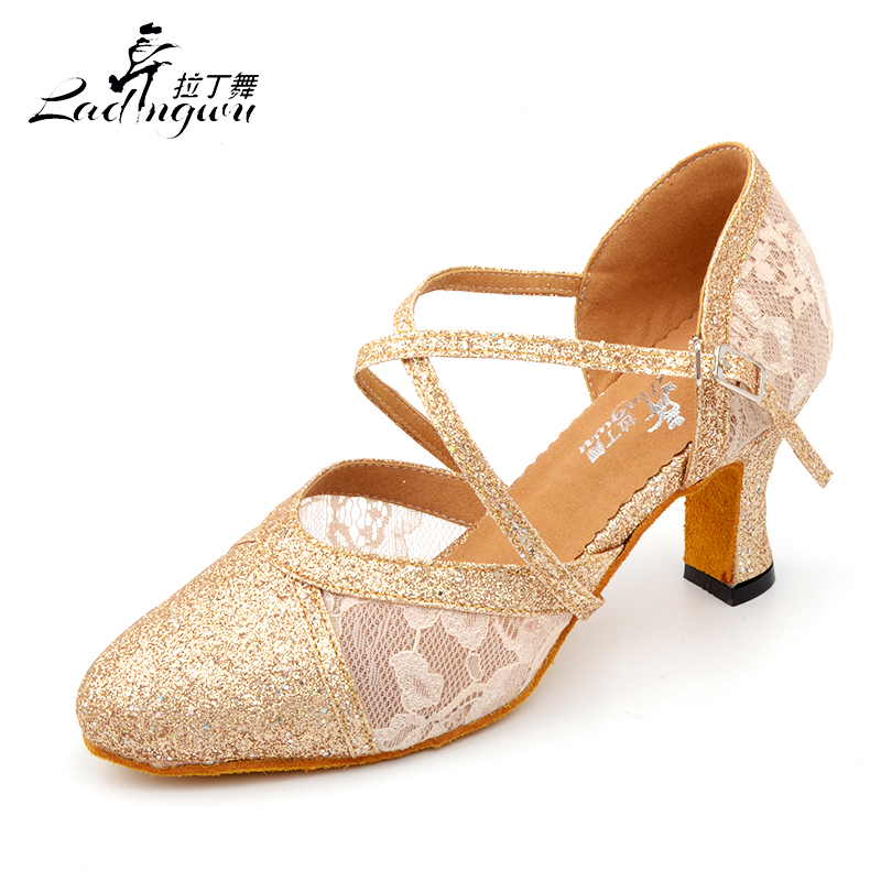 Ladingwu 2018 New Spring and Summer Closed toe Dance Shoes Latin Woman Salsa Flash Cloth And Lace Golden/Black Women Dance Shoes