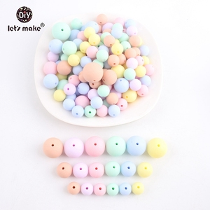 Image 4 - Lets make Baby Teether 200PCS Silicone Chew Beads Candy Color Set Necklace BPA Free Silicone Baby Shower Gift Silicone Teether