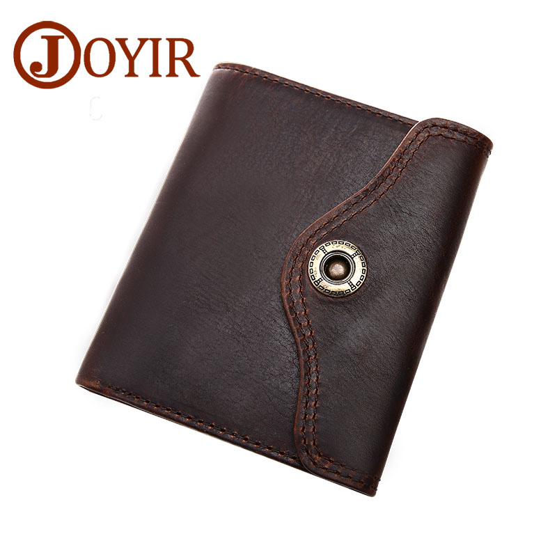 JOYIR Wallet Men Leather Genuine Solid Men Wallets Leather Coin Purse Hasp Vintage Card Holder Short Carteira Masculina 2010 joyir vintage men genuine leather wallet short small wallet male slim purse mini wallet coin purse money credit card holder 523