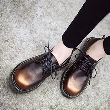 2016 Women Flats Grils Oxford Leather Shoes Female Metallic Luster Motorcycle Boots Flat Casual Shoes Women Chaussure Femme