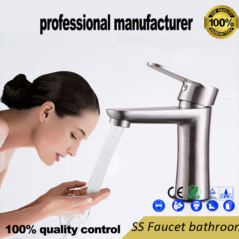 Sus304 Stainless Steel Faucet For Hot And Cold Water Faucet Small Waist Lavatory Faucet Washbasin Faucet