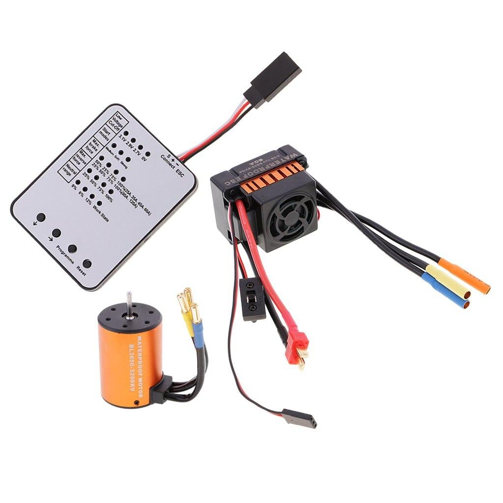 3650 5200KV étanche moteur Brushless + 60A ESC + LED carte de programme pour 1/10 RC voiture camion sur chenilles bateau pièces de rechange accessoires