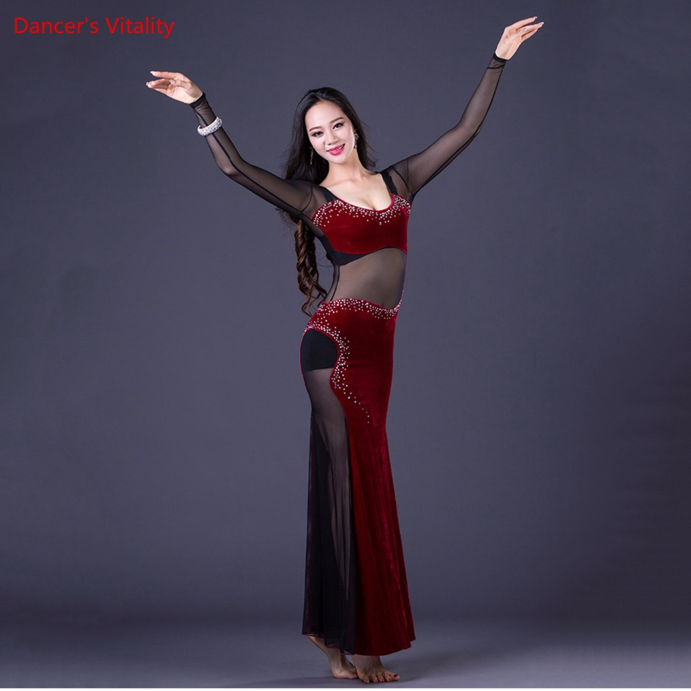 Image 4 - Korea Oriental One Piece Lady's Dance Costume Sexy Long Dress Transparent Mesh Dance Equipment Velvet Purple Black Hot Pink M L-in Belly Dancing from Novelty & Special Use