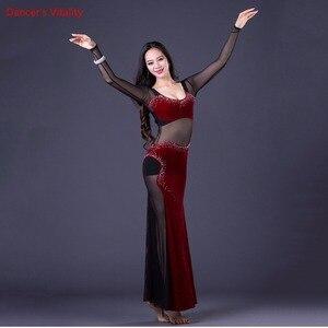 Image 4 - Traje de baile coreano Oriental de una pieza para mujer vestido largo Sexy malla transparente equipo de baile terciopelo púrpura negro Rosa caliente M L