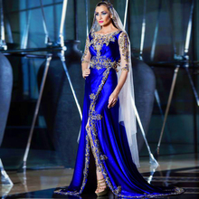 2015 New Hijab Long Dress For Prom Women Royal Blue Embroideried Rhinestone Party Gown To Night Arabic Style Evening Dresses