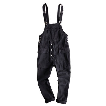 New Bib Overalls Suspender Jeans Long Loose For Men Black and Khaki Hip-hop Trousers
