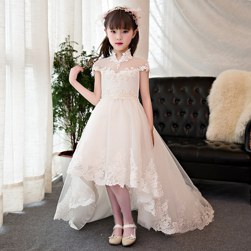 High Collar Ball Gown Princess Dress Birthday Party Beading Flower Girl Dresses for Wedding Long Trailing Holy Communion Dress K real picture kids evening gown luxury flower girl dresses for wedding long trailing princess dress ball gown beading dress