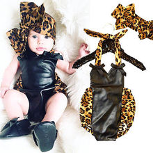 2016 New Fashion Baby Girls Bodysuit 0-18M Infant Kids Cute Leopard Body Clothes Sleeveless Patchwork Bodysuits