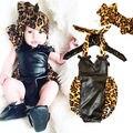 2016 nova moda meninas Bodysuit 0 - 18 M bebê bonito leopardo de roupas sem mangas Patchwork roupas