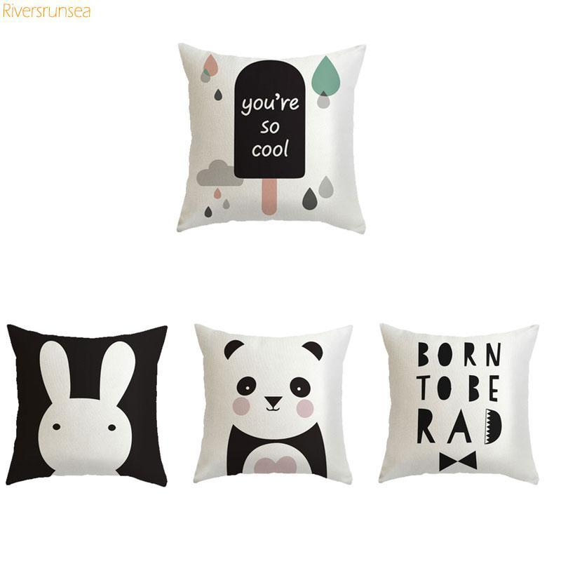 Cute Black And White Rabbit Cushion Cartoon Balloon Panda Animal Pillow Simple English Alphabet For Home Kids Bedroom Decor