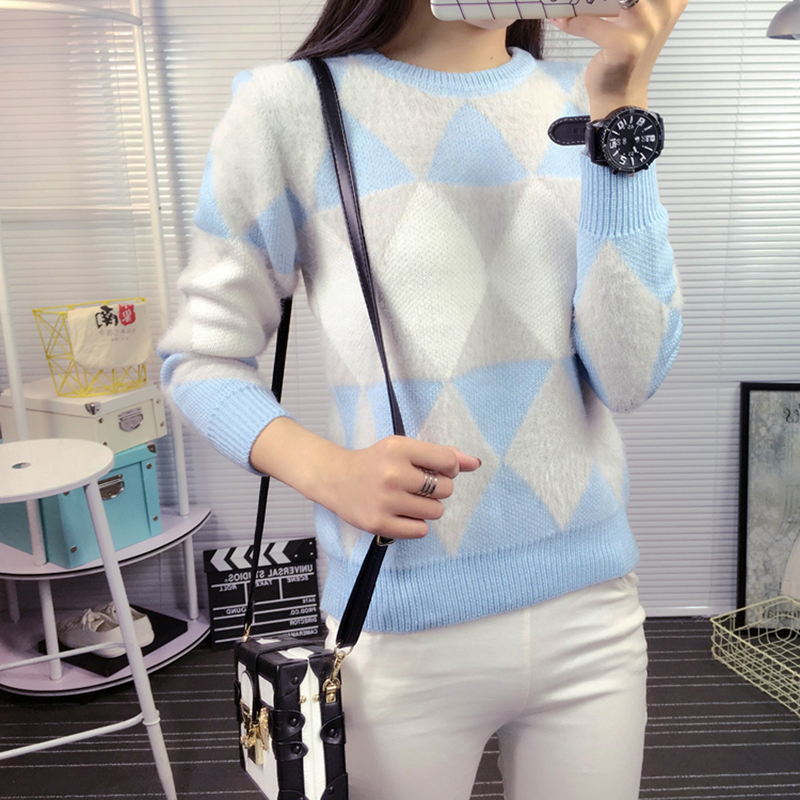 Hot Autumn Winter Women Thick Pullover Jumper Round Neck Rhombus font b Tartan b font Preppy
