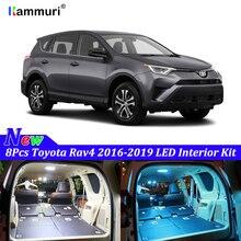цены KAMMURI 8X free shipping Error Free White Interior Car LED Light Package Kit for 2016 2017 2018 2019 Toyota Rav4 LED Interior