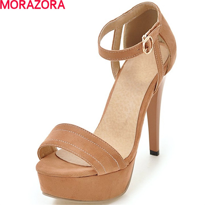 MORAZORA women fashion high heels sandals party summer buckle wedding shoes sexy Solid color wedding shoes big size 34-43MORAZORA women fashion high heels sandals party summer buckle wedding shoes sexy Solid color wedding shoes big size 34-43