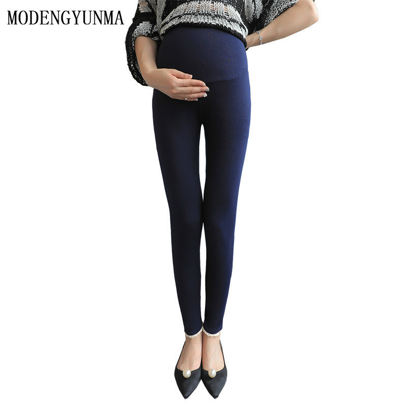 MODENGYUNMA Maternity Clothes New Lace Edge Pregnant Leggings Slim Fit Long Section Pregnancy Pants Stomach Lift Pants Vestidos