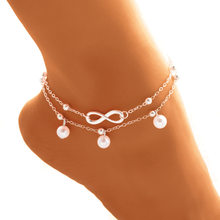 d0983c15d0b BOHO Cute Letter Infinity Love Anklet   Bracelet Imitation Pearl Multilayer  Chain Ankle Braclet for Women Summer Beach Jewelry